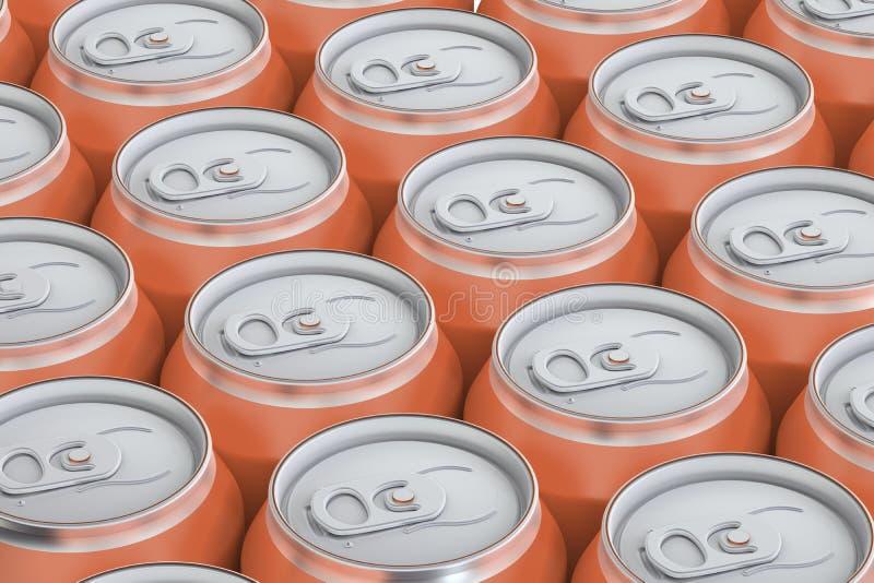 Oranje drank metaalblikken, hoogste mening vector illustratie