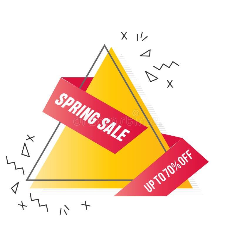 Oranje driehoek met rood gevouwen lint 70% het malplaatjeontwerp van de verkoopbanner Grote verkoopspeciale aanbieding Minimalist vector illustratie