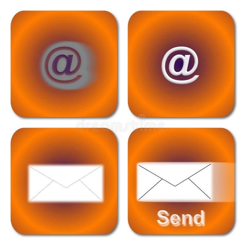Oranje E-mailKnopen royalty-vrije illustratie