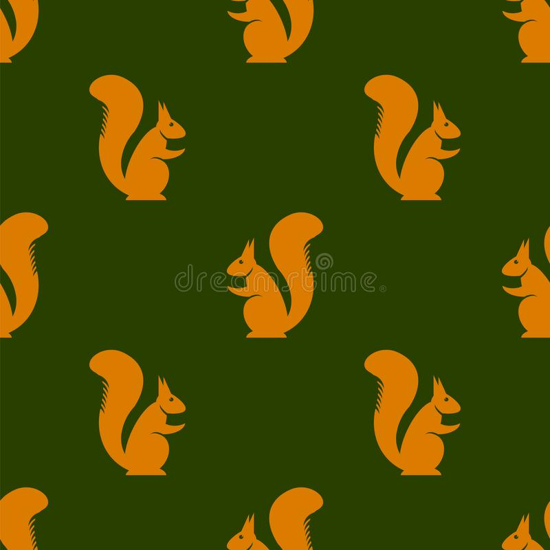 Oranje Eekhoorn Naadloos Patroon royalty-vrije illustratie