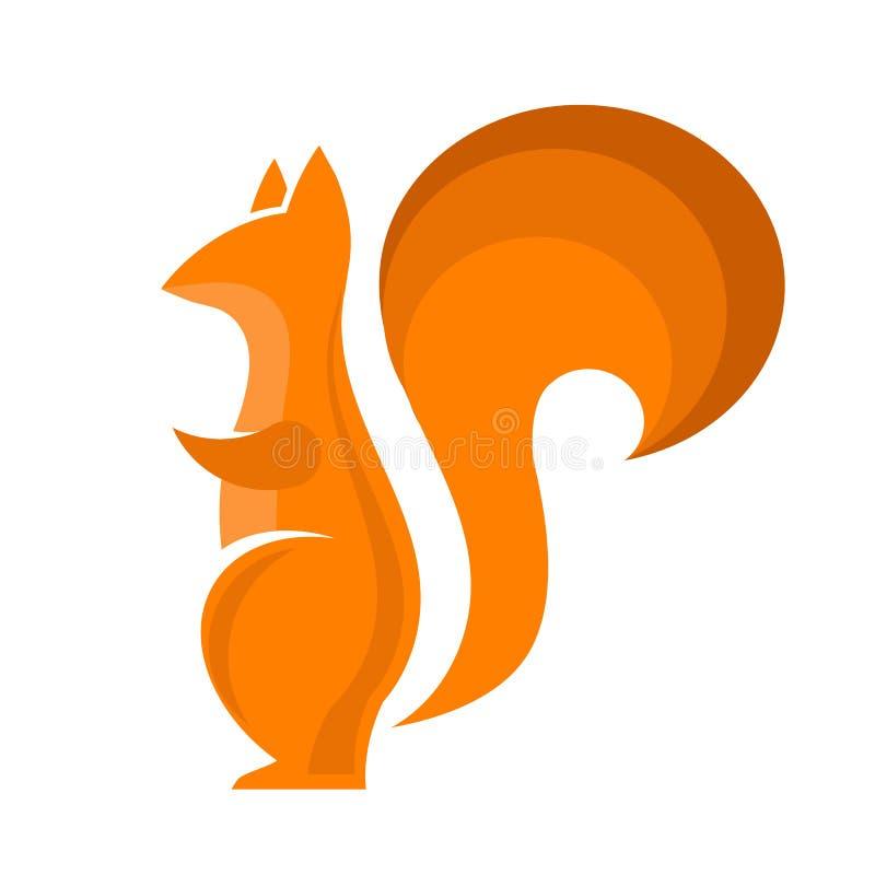 Oranje Eekhoornpictogram Isolared stock illustratie