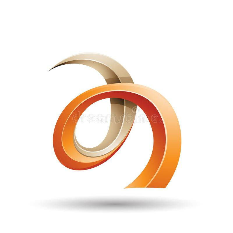 Oranje en Beige Gekrulde Ivy Like Letter een Pictogram vector illustratie