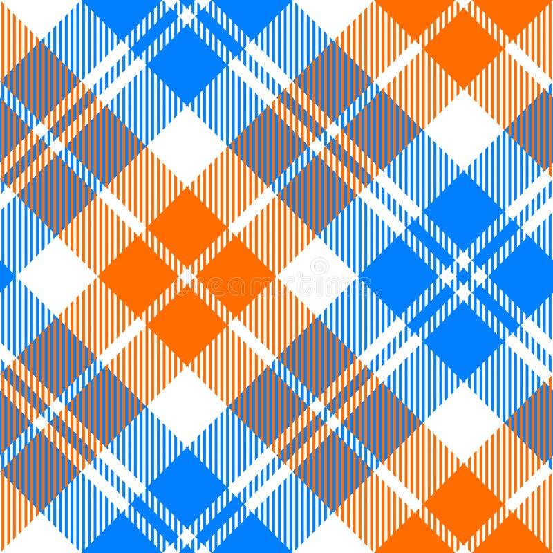 Oranje en blauw licht geruit Schots wollen stof diagonaal naadloos patroon royalty-vrije illustratie