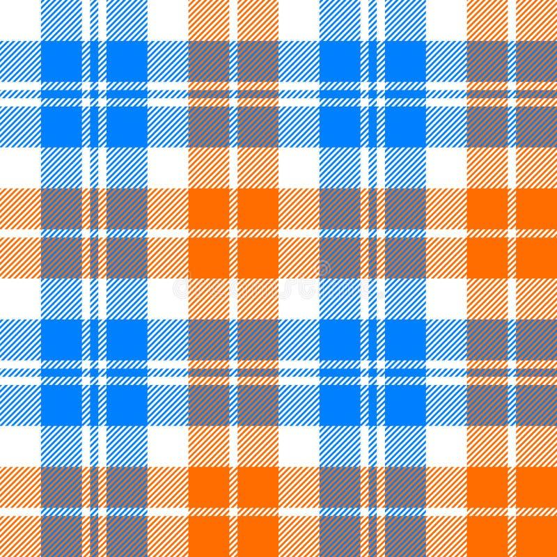 Oranje en blauw licht geruit Schots wollen stof naadloos patroon royalty-vrije illustratie