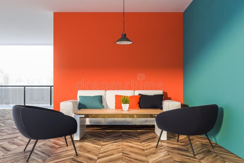 Oranje en blauw woonkamerbinnenland royalty-vrije illustratie
