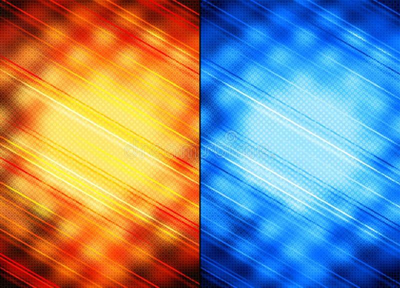 Oranje en blauwe abstracte achtergronden vector illustratie