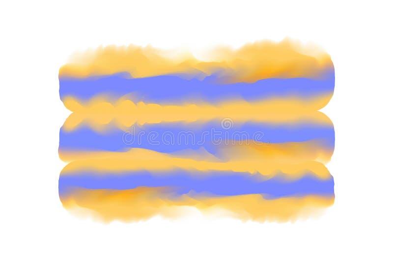 Oranje en blauwe digitale verfkwaststreek op van de het waterkleur van de conceptenhand getrokken stijl de textuur witte achtergr stock illustratie