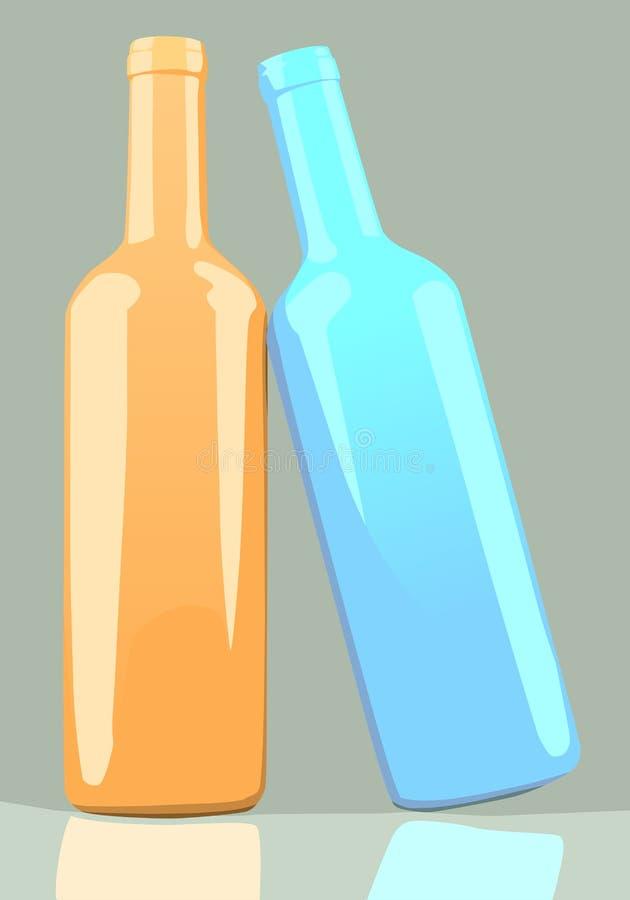 Oranje en blauwe wijnflessen. stock illustratie