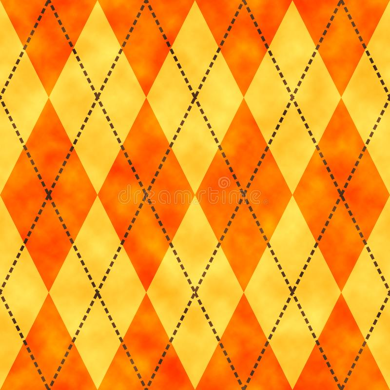 Oranje en gele waterverf argyle achtergrond stock illustratie