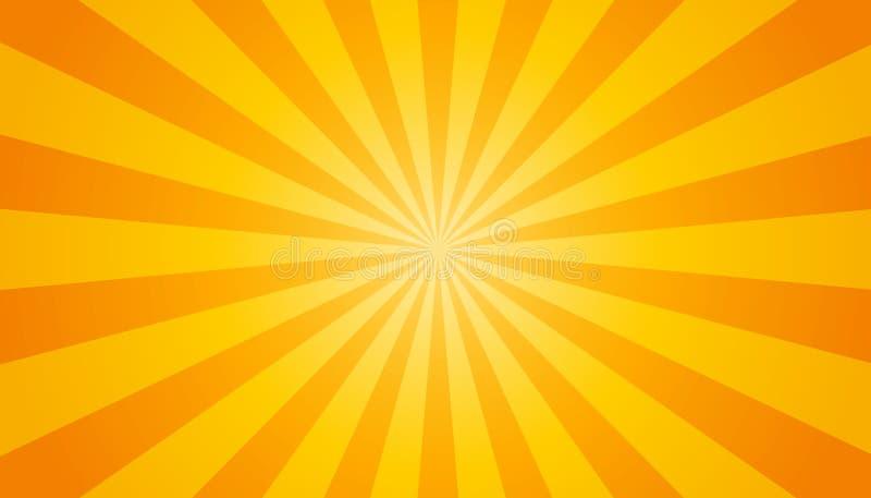Oranje en Gele Zonnestraalachtergrond - Vectorillustratie vector illustratie