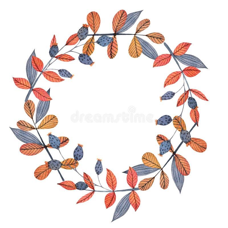 Oranje en grijze het kaderkroon van de waterverfherfst met bloemen, bladeren en takken stock illustratie