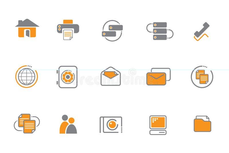 Oranje en grijze pictogramreeks stock illustratie
