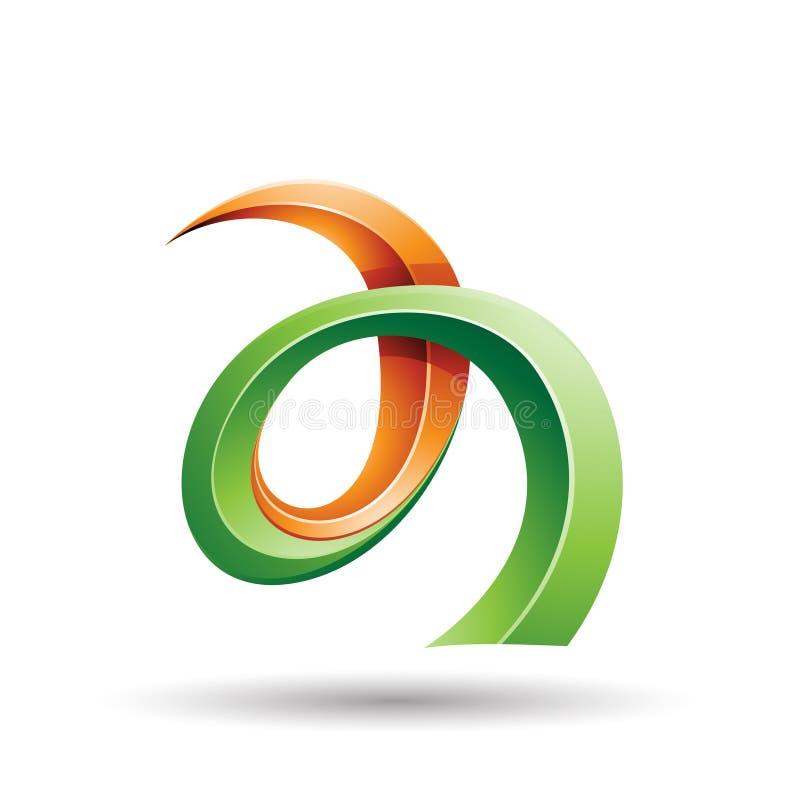 Oranje en Groene Gekrulde Ivy Like Letter een Pictogram stock illustratie