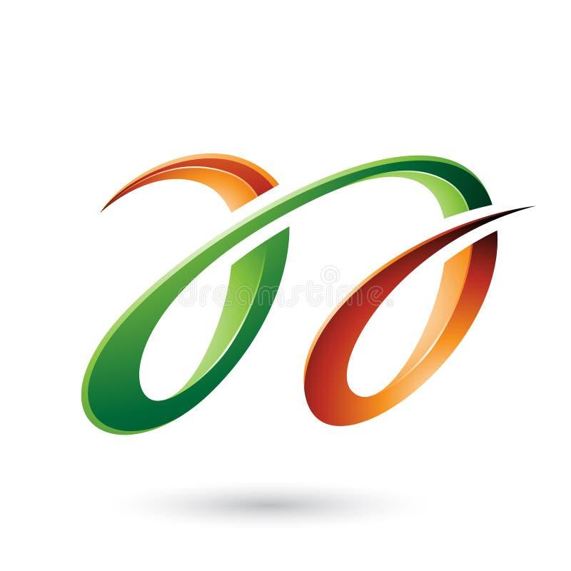 Oranje en Groene Glanzende Dubbele die Brieven A op een Witte Achtergrond worden geïsoleerd stock illustratie