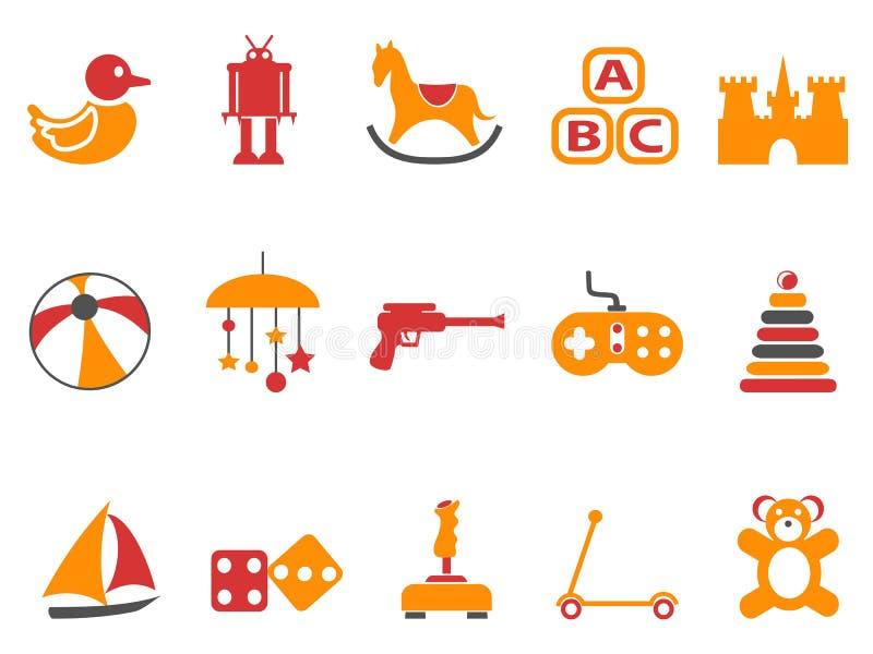 Oranje en rode kleurenstuk speelgoed geplaatste pictogrammen royalty-vrije illustratie