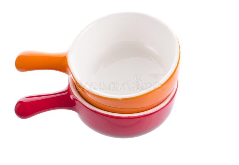 Oranje en rode lege potten stock fotografie