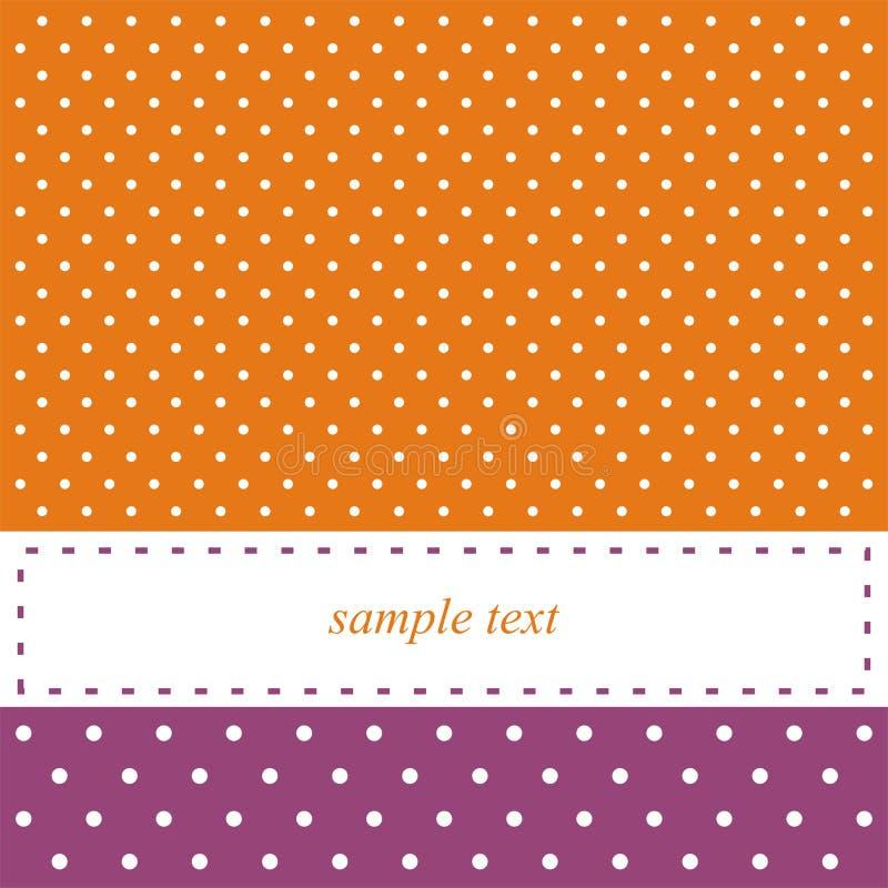 Oranje en violette kaart of uitnodiging, stippen royalty-vrije illustratie