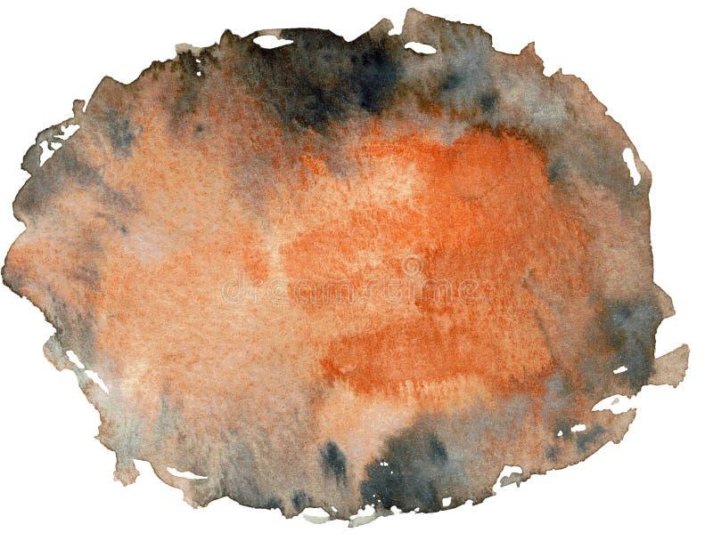 Oranje en zwart abstract waterverfhand getrokken gestalte gegeven kader Gekleurde geometrische banner Cirkel gestalte gegeven kad royalty-vrije stock afbeeldingen