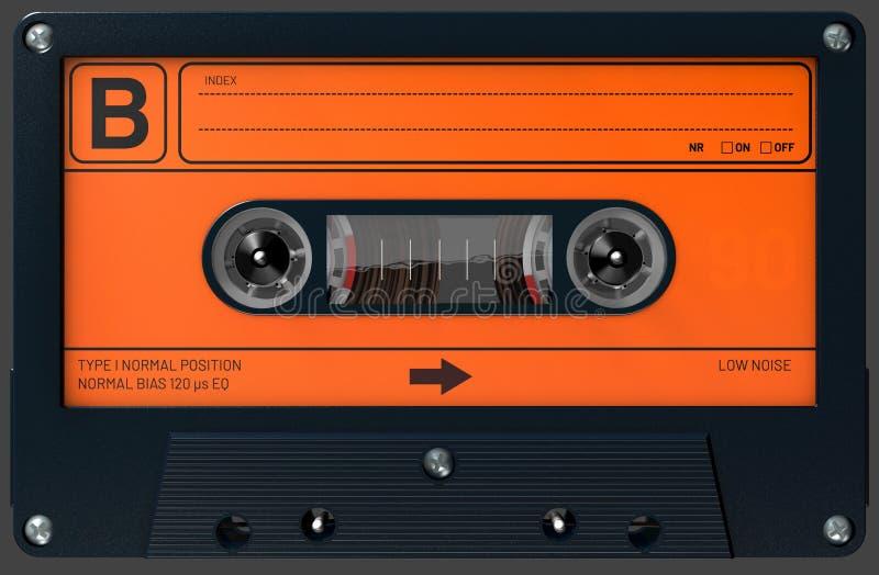 Oranje en zwarte audiocassette met sticker en etiket stock foto