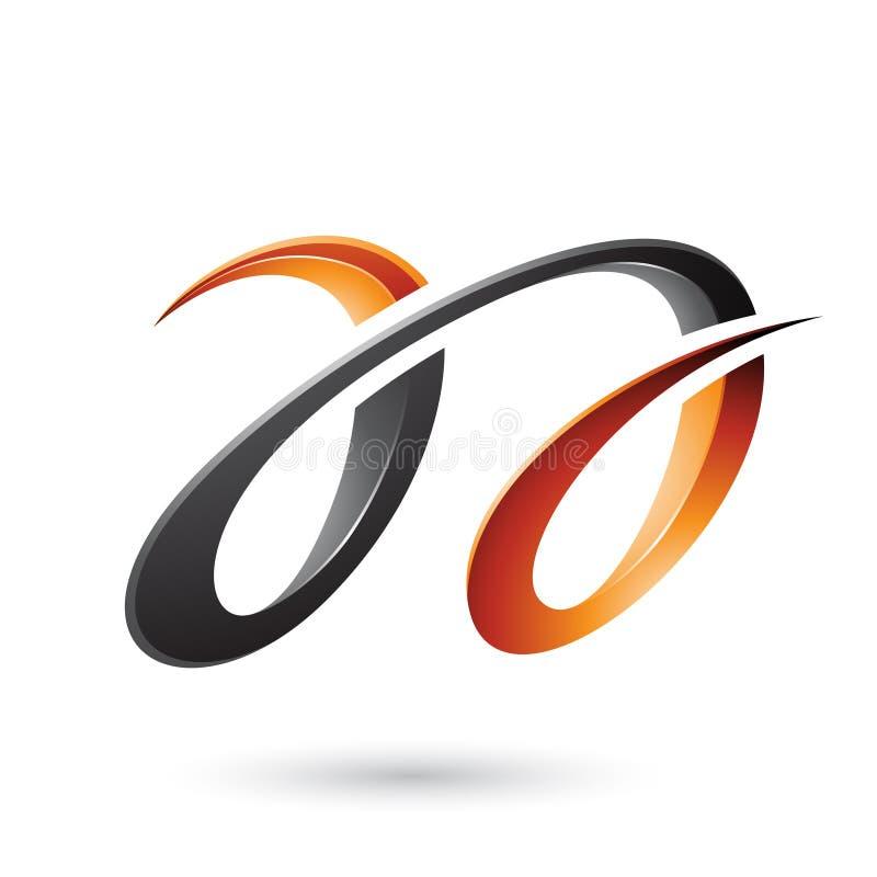 Oranje en Zwarte Glanzende Dubbele die Brieven A op een Witte Achtergrond worden geïsoleerd stock illustratie
