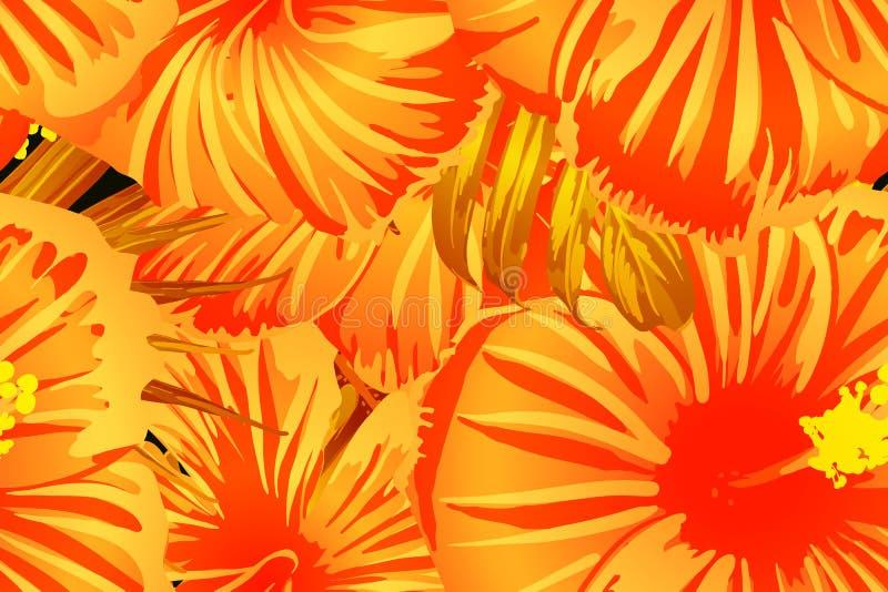 Oranje exotisch patroon stock illustratie