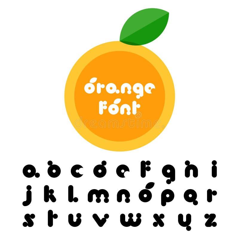 Oranje fruit gestileerde doopvont Latijns decoratief alfabet Vector lo stock illustratie