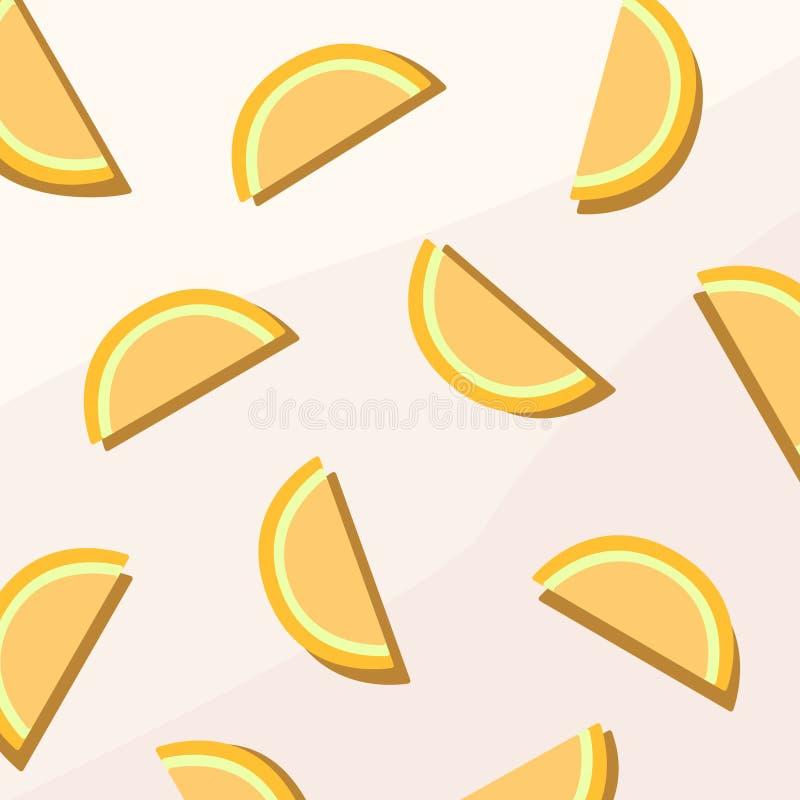 Oranje Fruit Vlak Digitaal Behang vector illustratie