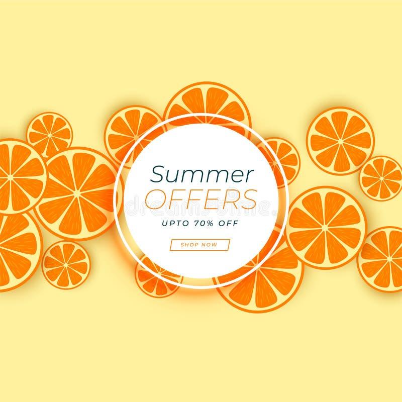 Oranje fruitachtergrond voor de zomerverkoop royalty-vrije illustratie
