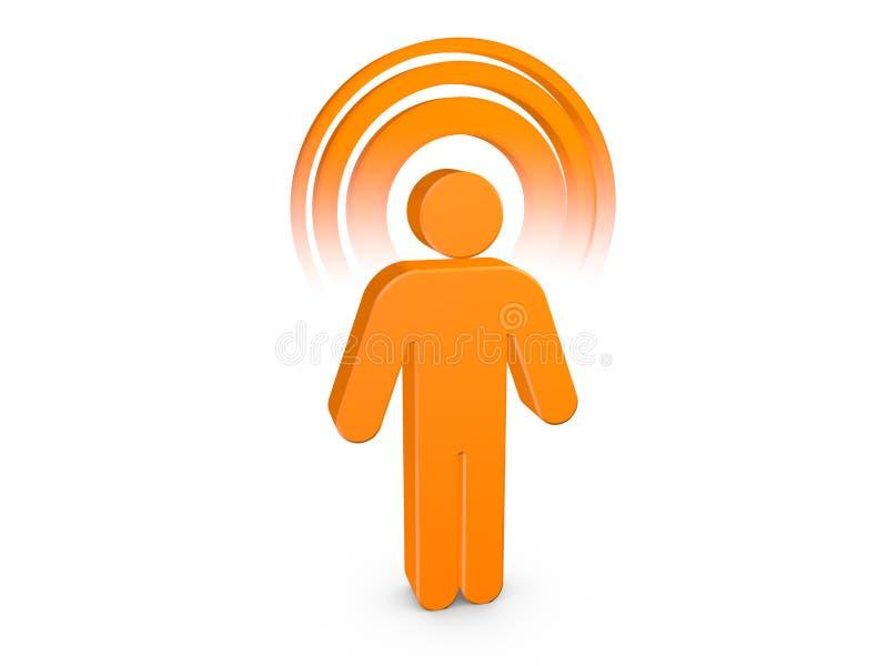 Oranje Geestelijke Mens met zichtbaar kleurenAura stock illustratie