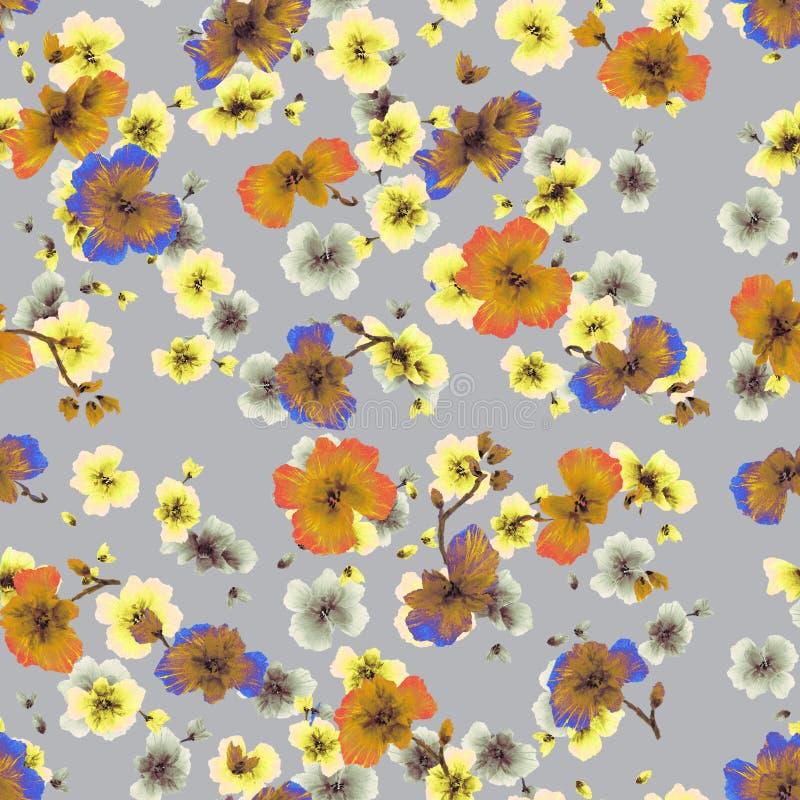 Oranje, gele, blauwe bloemen van het waterverf de naadloze patroon op een grijze achtergrond stock illustratie