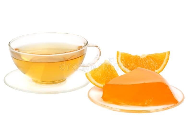 Oranje gelei en thee royalty-vrije stock foto's