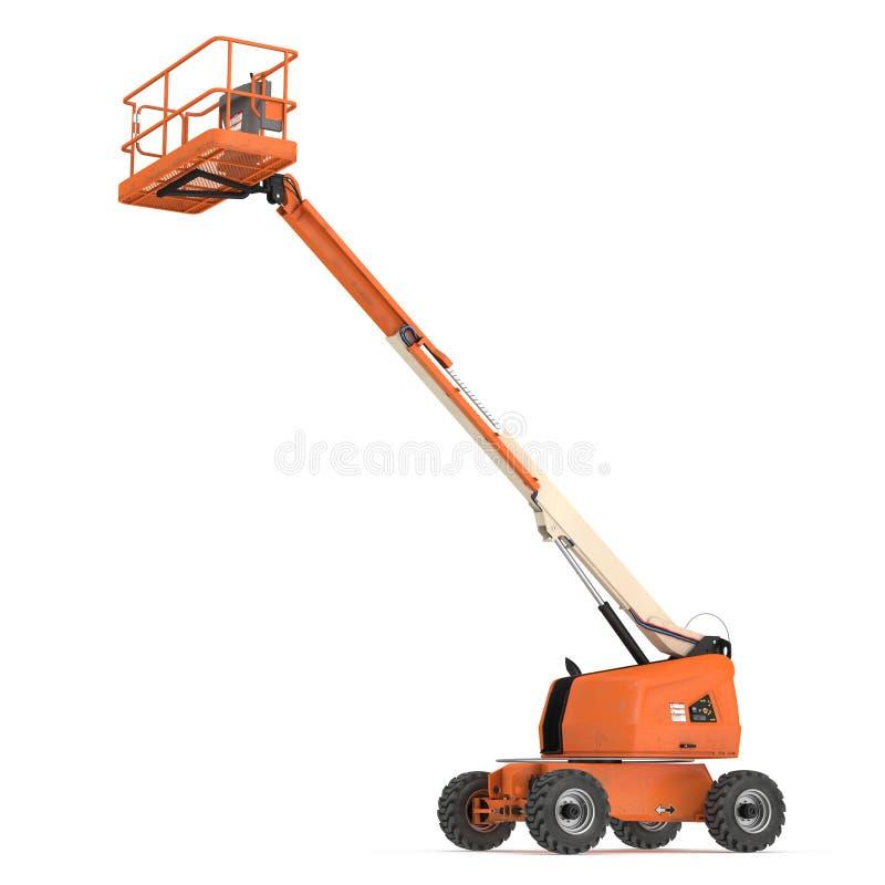 Oranje gemotoriseerde gearticuleerde lift op wielen met het ineenschuiven van boom en mand op wit 3D Illustratie stock illustratie