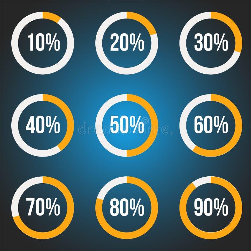 Oranje geplaatste progress indicators, vectorillustratie voor ontwerp royalty-vrije illustratie