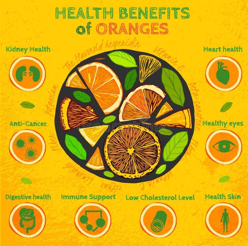 Oranje Gezondheidsvoordelen stock illustratie
