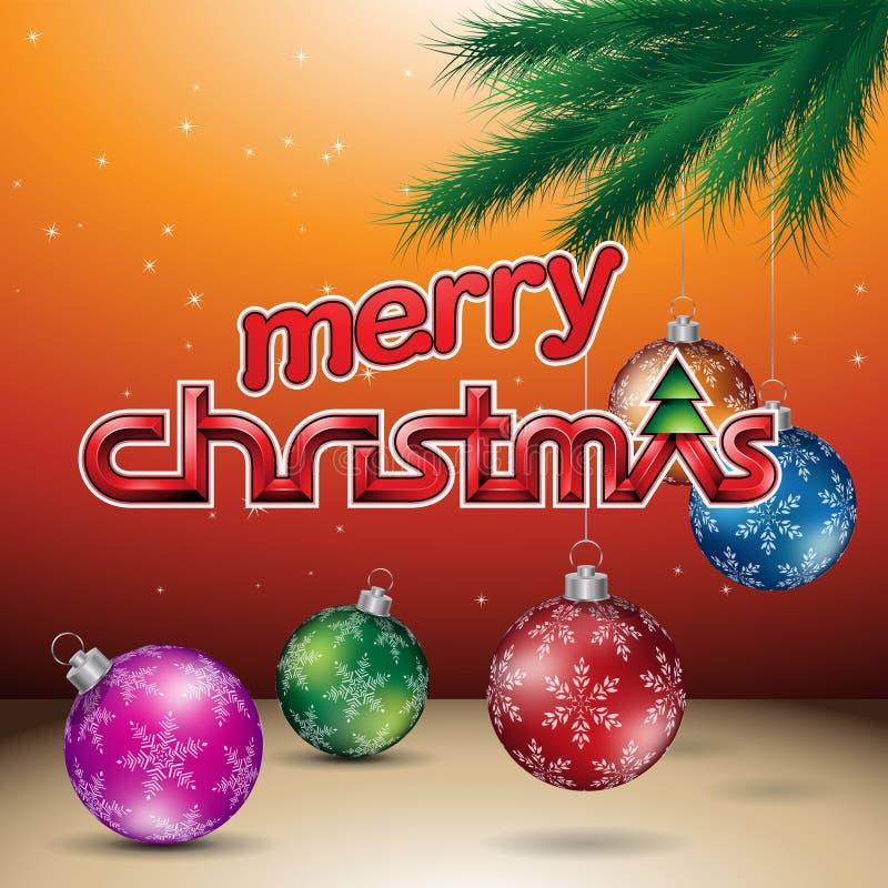 Oranje Glanzende Vrolijke Kerstmis Vectorillustratie Als achtergrond royalty-vrije illustratie