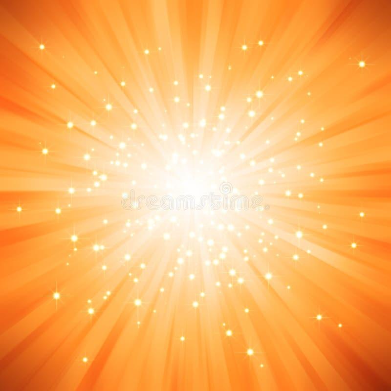Oranje gouden licht dat met sterren is gebarsten royalty-vrije illustratie