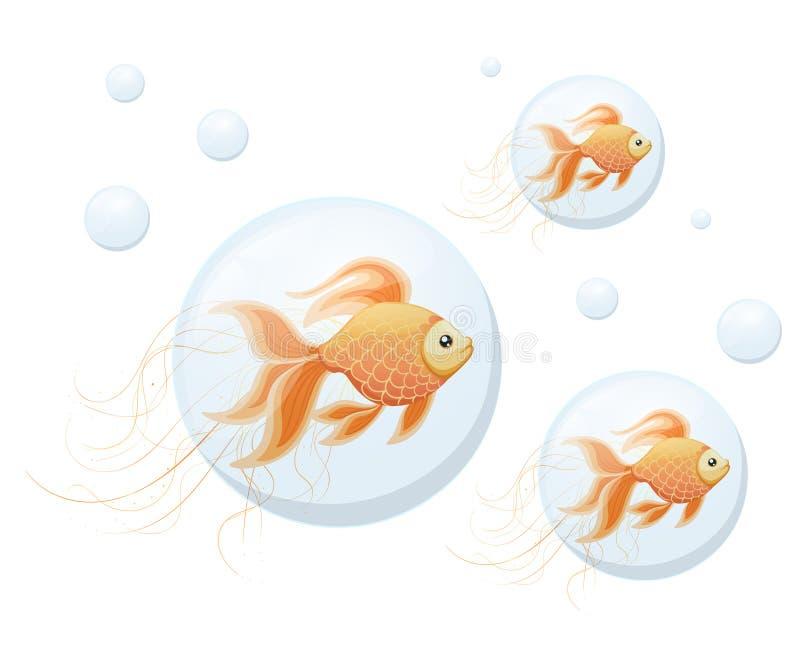 Oranje Goudvis in bellen van lucht vectorillustratie op witte achtergrondwebsitepagina en mobiel app ontwerp vector illustratie