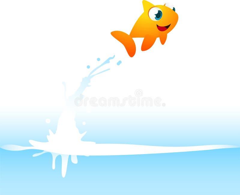 Oranje Goudvisvissen die uit het Water springen stock illustratie