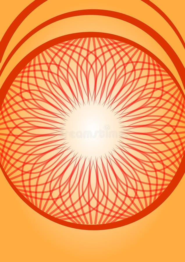 Oranje gradiënt abstracte vectorachtergrond met rode krabbelrozet stock illustratie