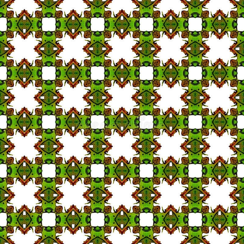 Oranje groen geometrisch naadloos patroon De hand trekt stock illustratie