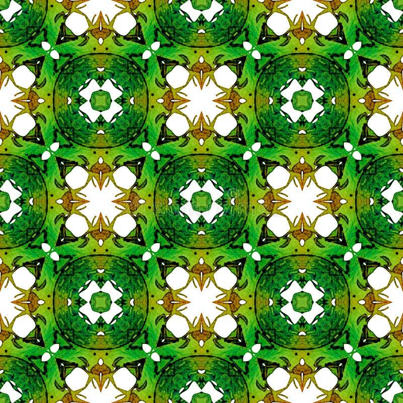 Oranje groen medaillon naadloos patroon De hand trekt vector illustratie