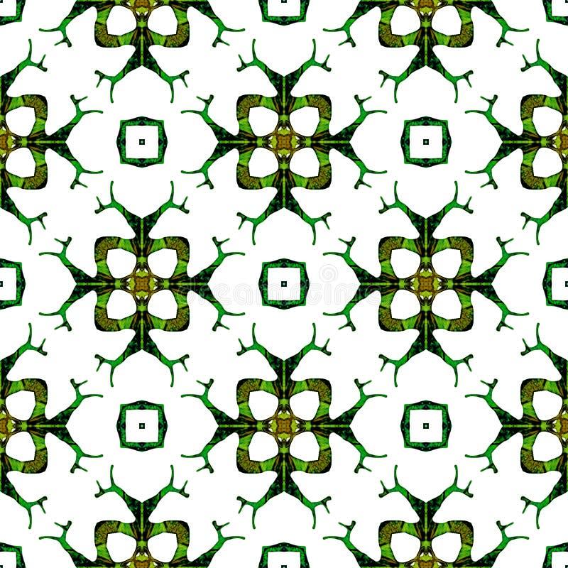Oranje groen medaillon naadloos patroon stock foto
