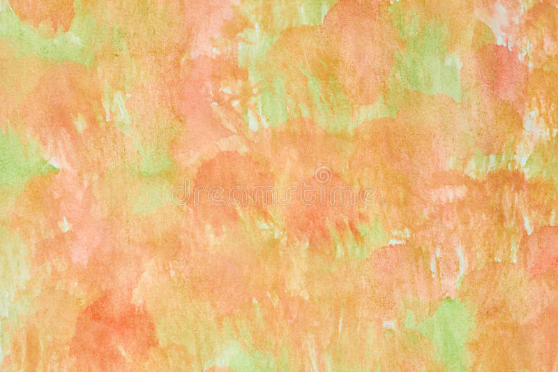Oranje groene waterverfachtergrond royalty-vrije stock afbeelding