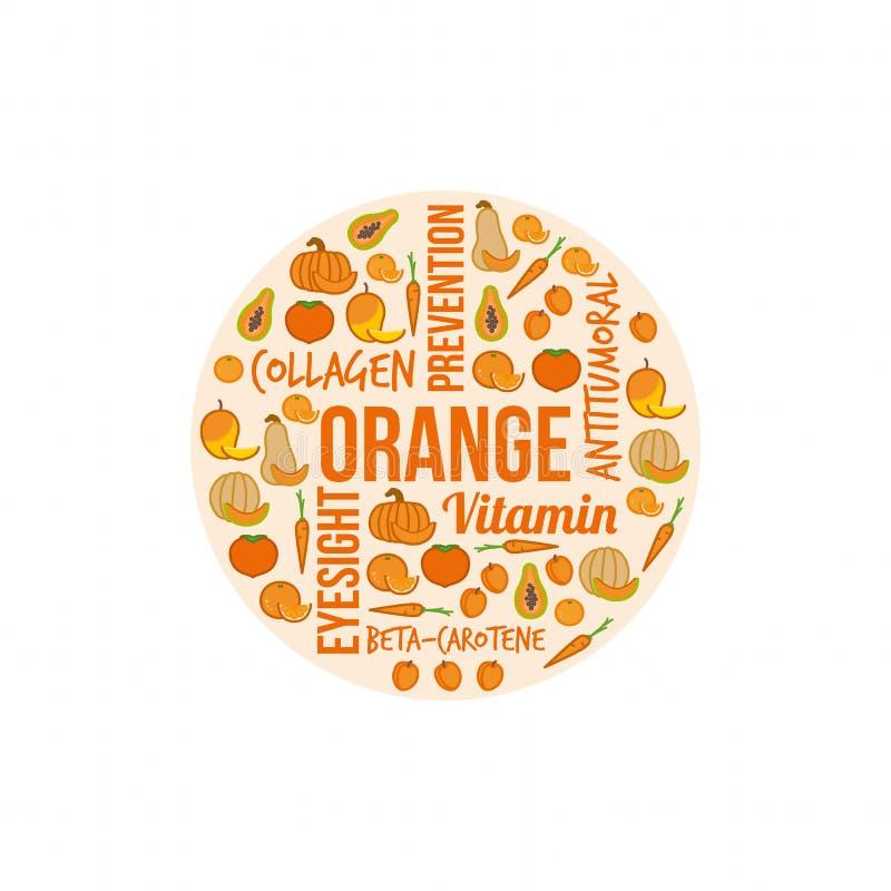 Oranje groenten en vruchten royalty-vrije illustratie