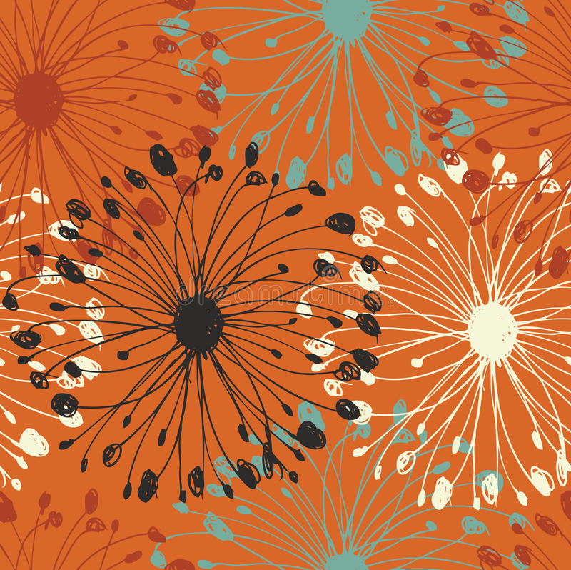 Oranje grunge radiaal patroon Decoratief bloei naadloze achtergrond voor kaarten, ambachten, textiel, behang, Web-pagina's Stof t stock illustratie