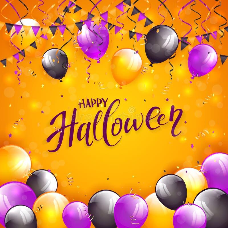 Oranje Halloween-achtergrond met ballons en wimpels royalty-vrije illustratie