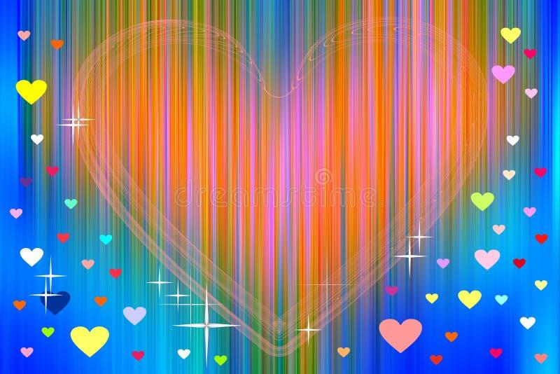Oranje hart en kleurrijke harten op abstracte achtergrond royalty-vrije illustratie