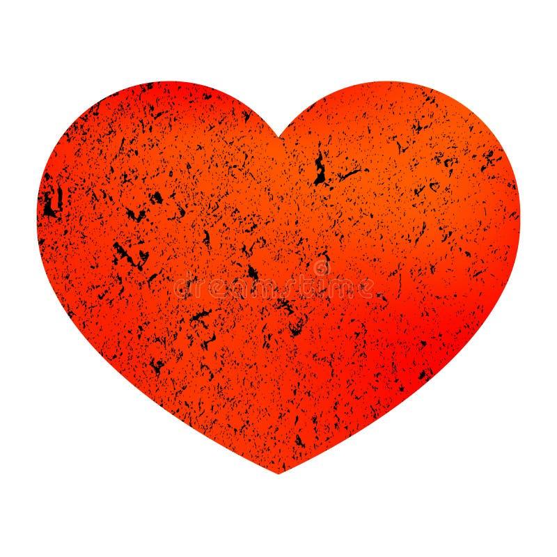 Oranje hart met steentextuur Hart in grungestijl Decoratief element Hart op een ge?soleerde witte achtergrond Illustratie stock illustratie