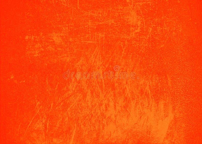 Oranje heldere abstracte textuur als achtergrond met krassen en nevelverf Lege achtergrondontwerpbanner royalty-vrije stock foto