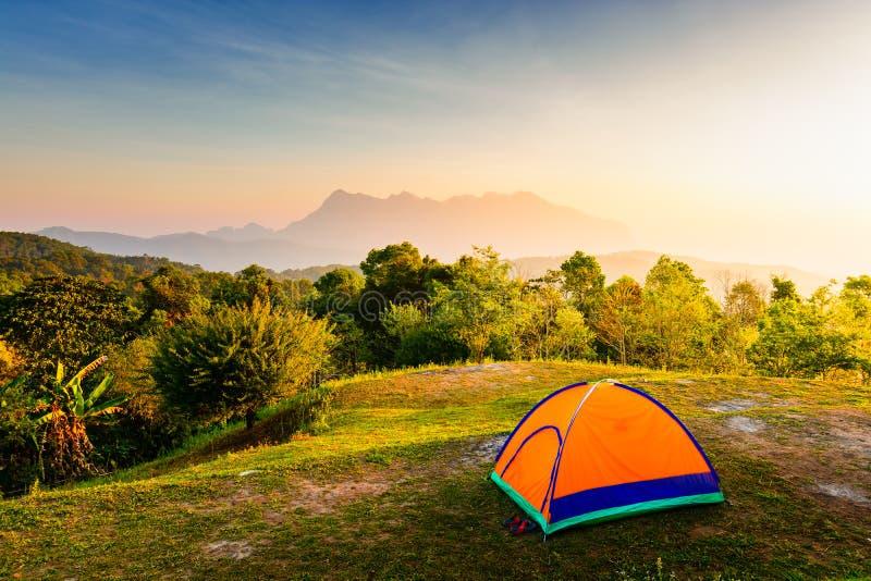 Oranje het kamperen tent bij het kamperen gebied in mooi ochtendlicht stock fotografie